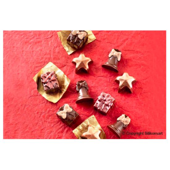 """Plaque silicone pour chocolat """"Easy Choc"""" : 12 sujets Noel  (plaque de 214 x 106 mm)"""
