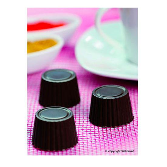 """Plaque silicone pour chocolat """"Easy Choc"""" : 15 ronds nervurés (plaque de 214 x 106 mm)"""
