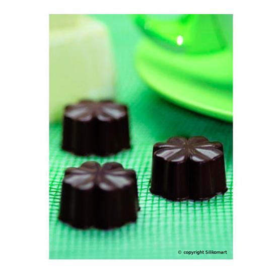 """Plaque silicone pour chocolat """"Easy Choc"""": 15 fleurs (plaque de 214 x 106 mm)"""