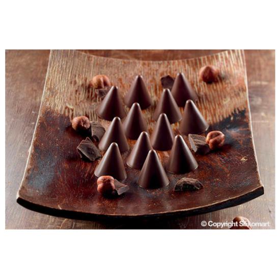 """Plaque silicone pour chocolat """"Easy Choc"""" : 15 sujets cônes  (plaque de 214 x 106 mm)"""