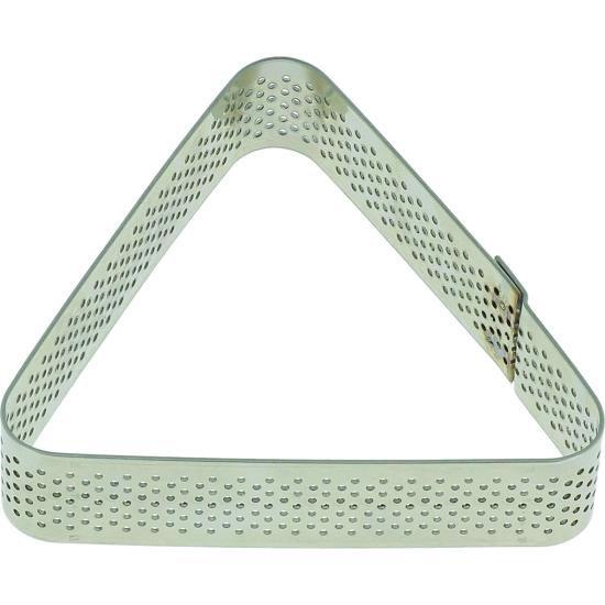 Triangle inox perforé - 8,5 x 7,5 x h 2 cm - angles arrondis -